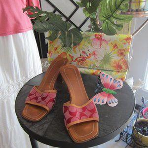 COACH - Size 8B - signature print red slide heels